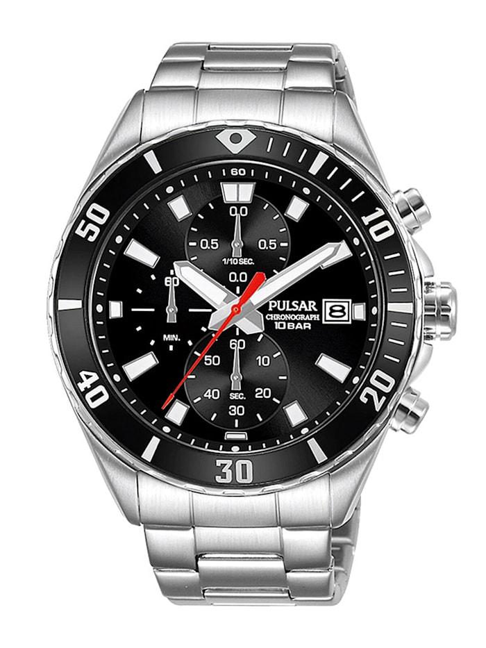 Pulsar Herren-Armbanduhr Chronograph Schwarz, Schwarz