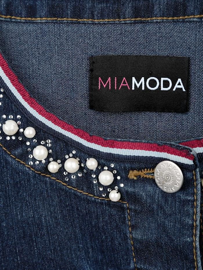 Jeansjacke mit dekorativem Perlenbesatz