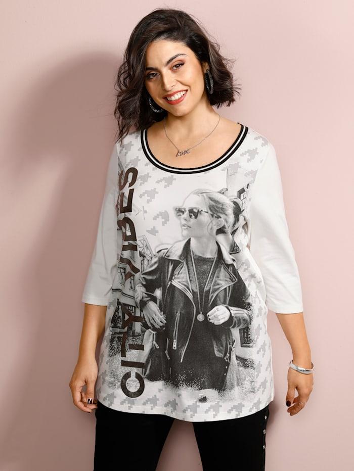 MIAMODA Shirt mit Foliendruck, Creme-Weiß