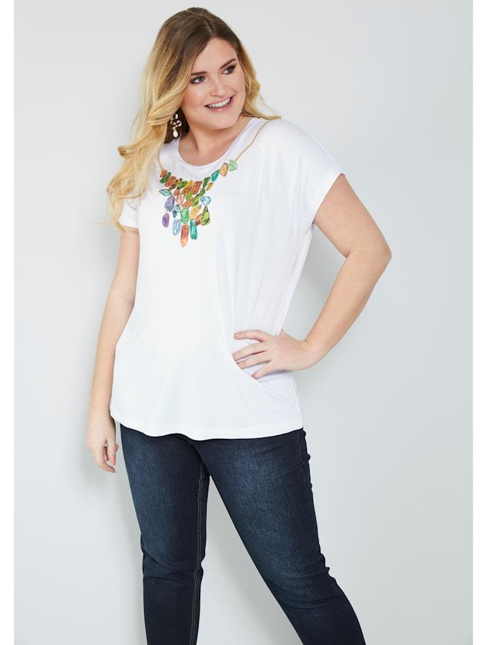 Sara Lindholm Shirt met strassteentjes, Wit/Groen