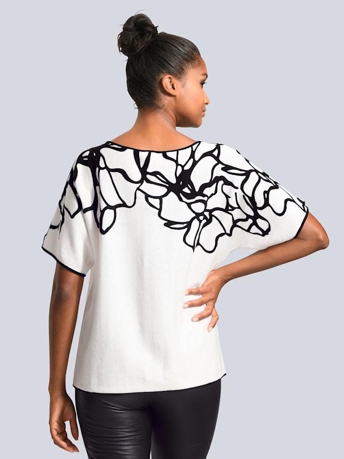 Pullover mit kontrasfarbigem Print