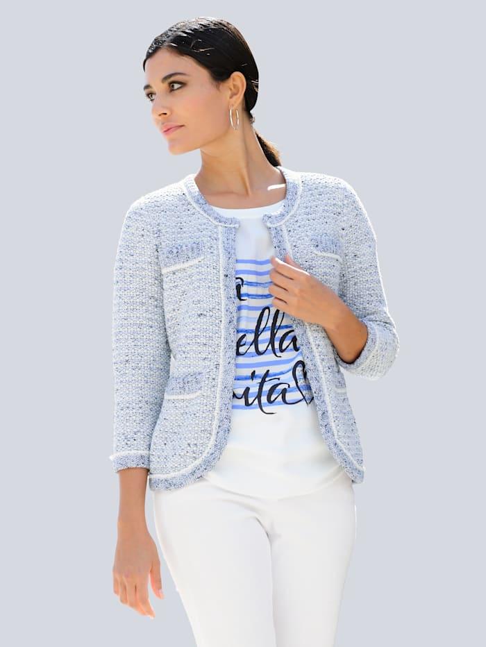 Alba Moda Svetr v módním Bouclé-vzhledu, Přírodní bílá/Svetle modrá