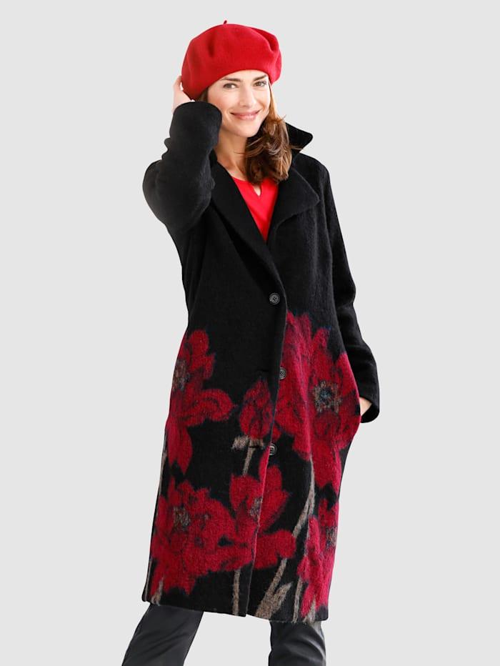 MONA Wollen mantel met bloemenmotief, Zwart/Rood