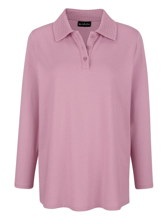 m. collection Sweatshirt mit dekorativem Polokragen, Rosé