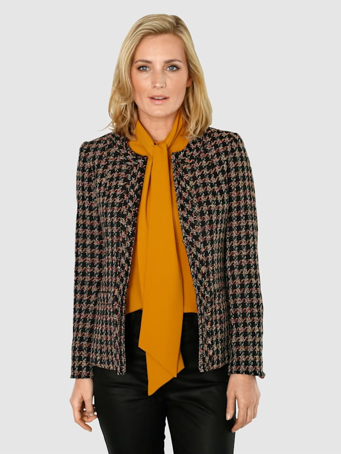 MONA Blazer in a textured fabric, Black/Yellow/Red