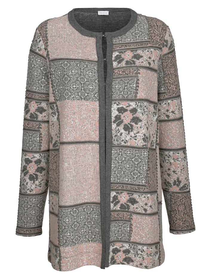 Longline jacket with a classic jacquard pattern