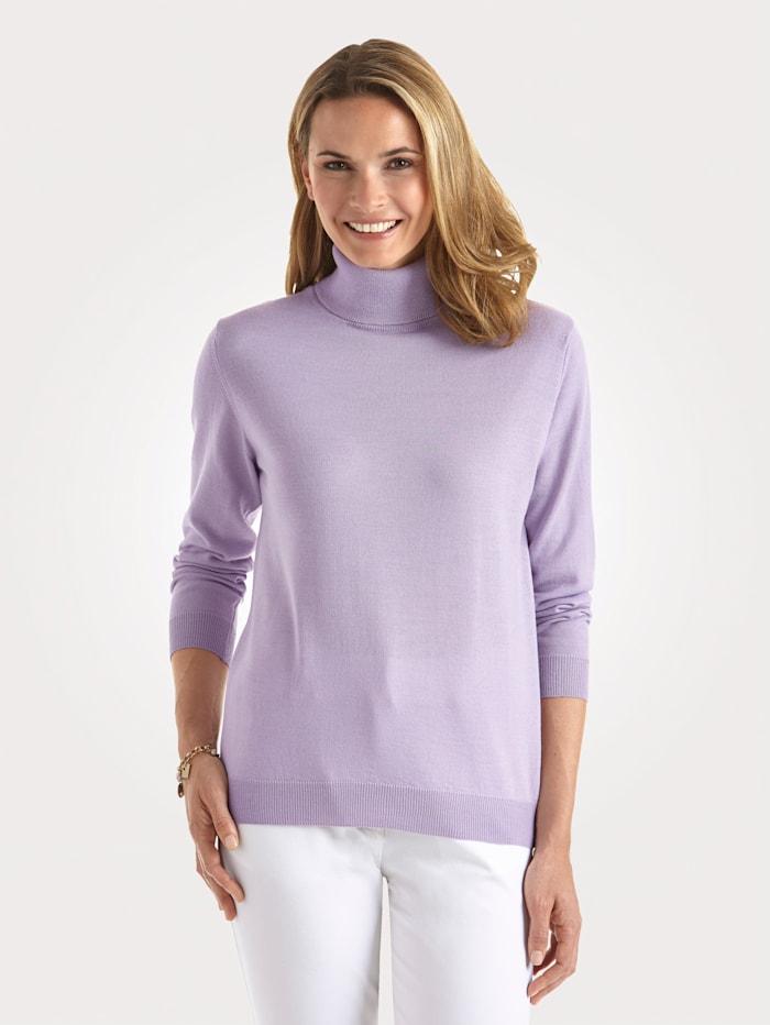 MONA Rollkragen-Pullover mit Merino-Schurwolle, Lavendel