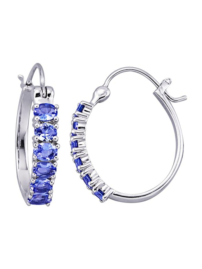 Creolen mit Tansaniten, Blau/Silberfarben