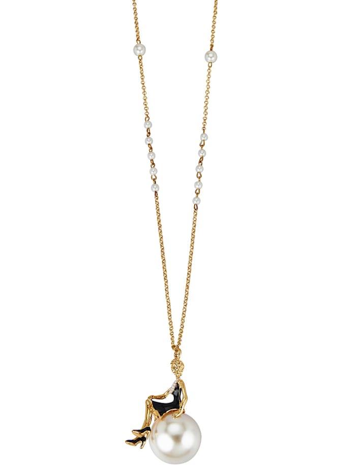 KLiNGEL Collier mit cremefarbenen synth. Perlen, Multicolor