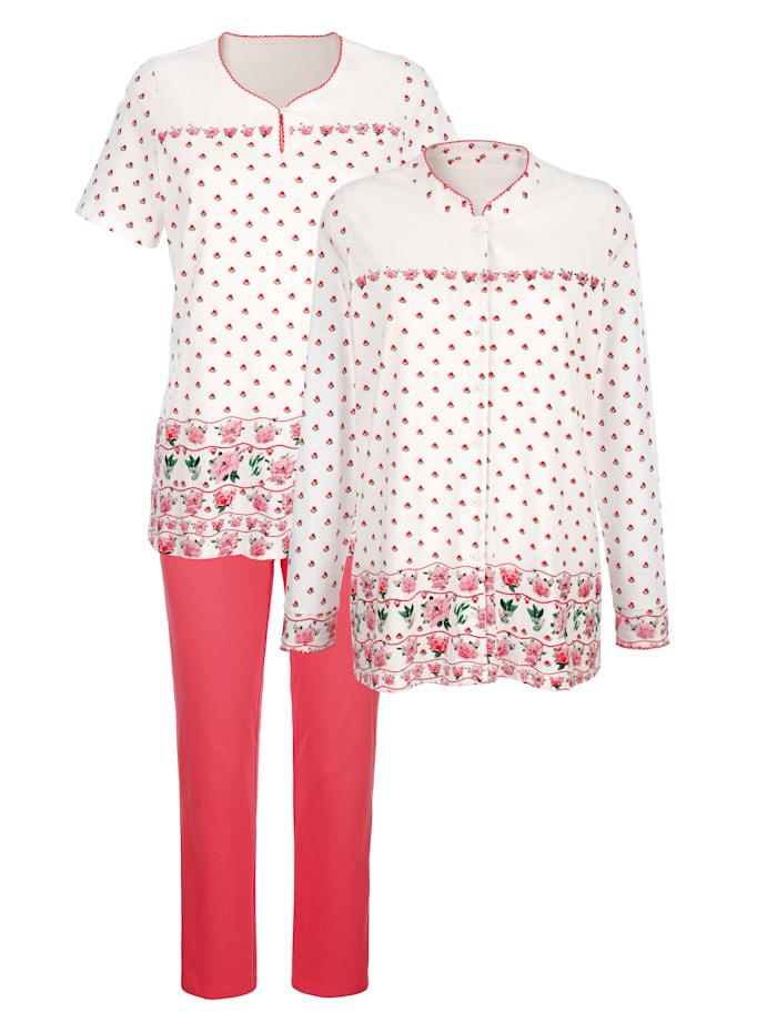 Harmony Schlafanzug 3tlg. mit floralem Bordürendruck, Ecru/Koralle