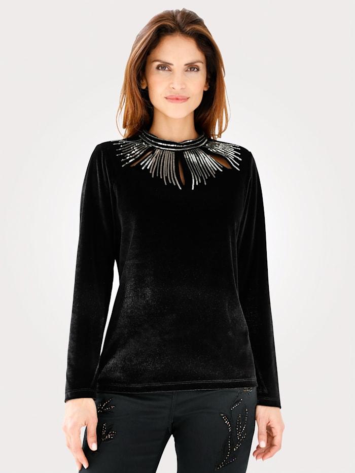 MONA T-shirt en velours, Noir