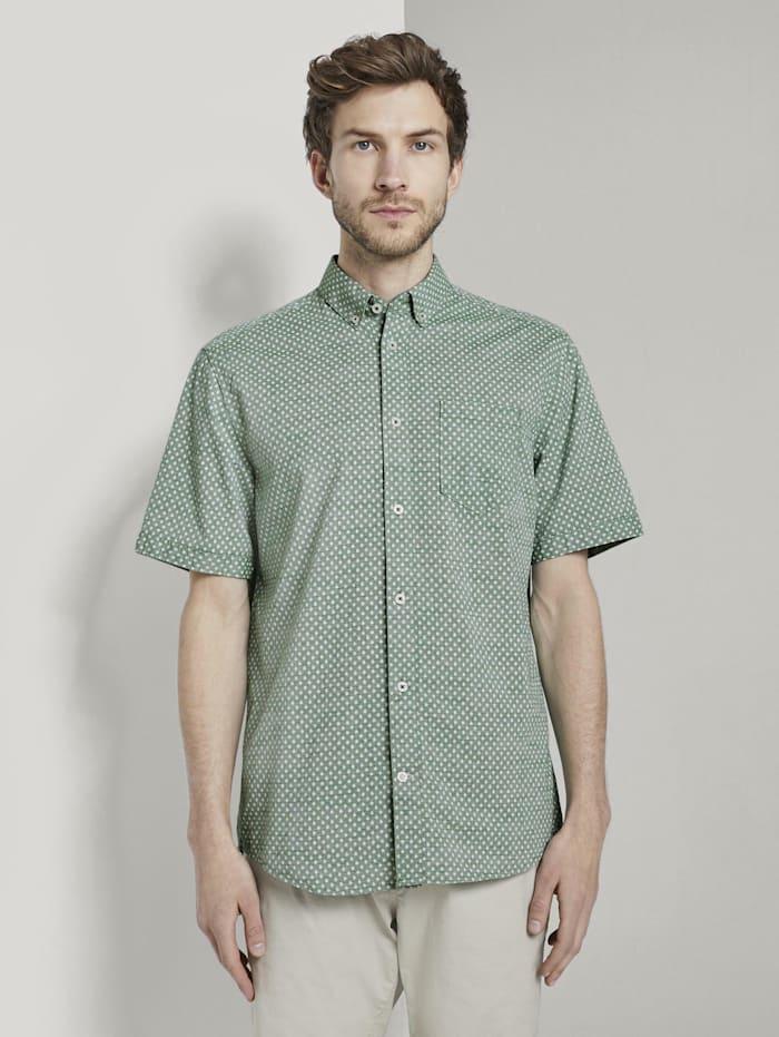 Tom Tailor Gemustertes Kurzarm-Hemd mit Struktur, green strucure white design