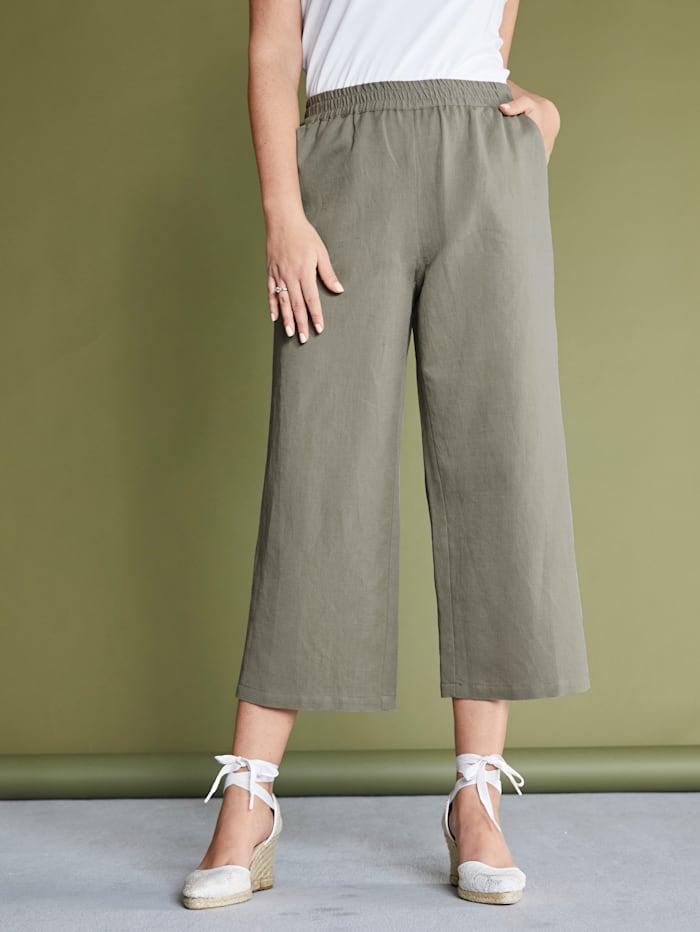 MIAMODA Jupe-culotte en lin mélangé agréable à porter, Vert jonc