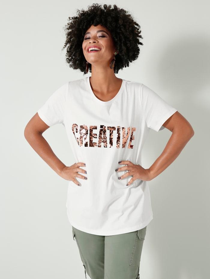 Angel of Style Shirt mit Paillettenschriftzug, Off-white