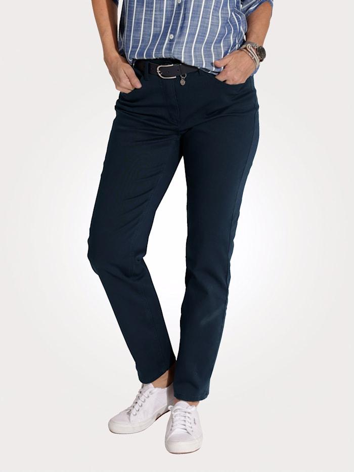 MONA Pantalon avec ceinture partiellement extensible en grandes tailles, Marine