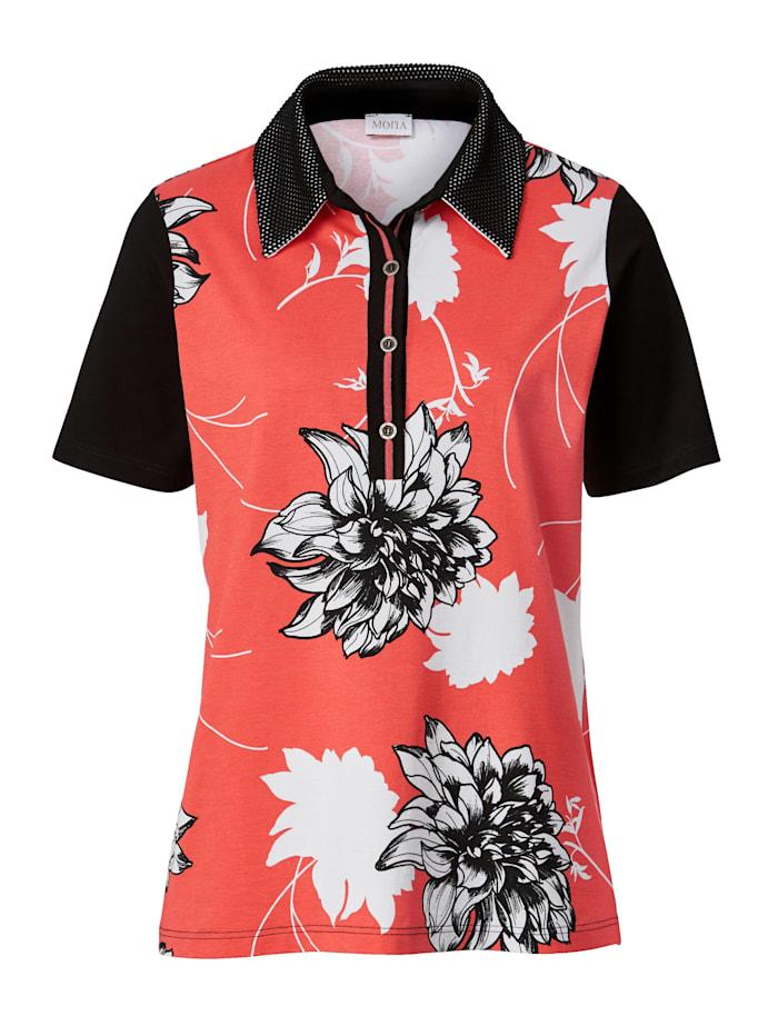 Poloshirt mit Blumendruck