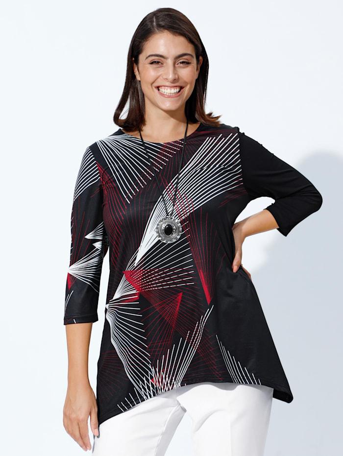 m. collection Zipfelshirt mit grafischem Muster, Schwarz/Weiß/Rot