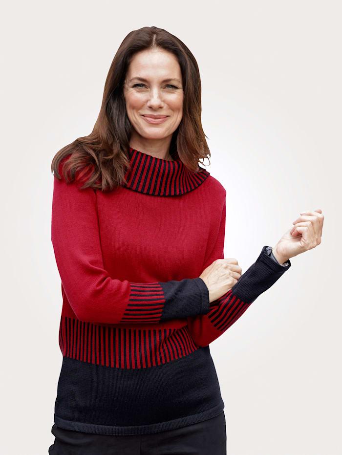 MONA Pullover mit halsfernem Rollkragen, Rot/Schwarz