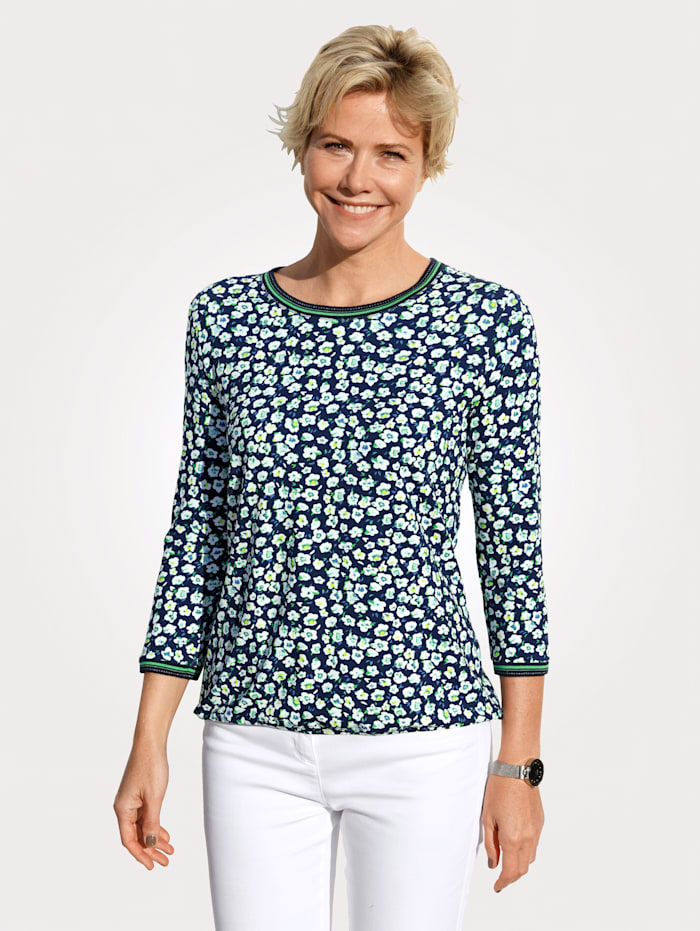 Rabe Shirt met minimaldessin, Marine/Groen
