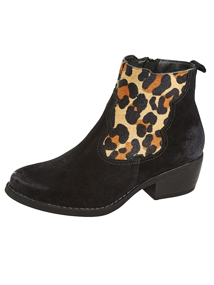 Bottines à empiècement aspect léopard, Noir