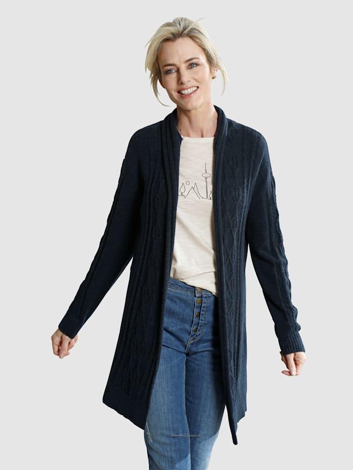 Dress In Strickjacke mit Zopfmusterdetails, Marineblau