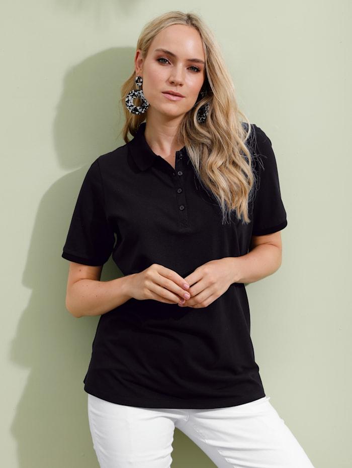 MIAMODA Poloshirt aus leicht strukturiertem Baumwollmaterial, Schwarz