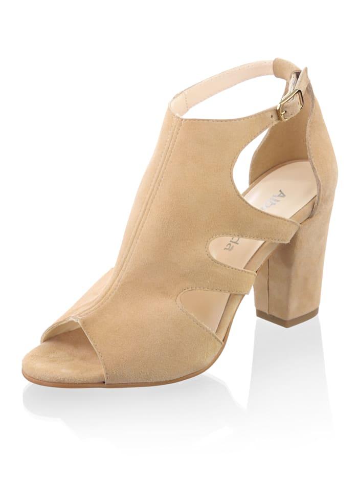 Alba Moda Sandalette mit seitlichen Cutouts, Camel