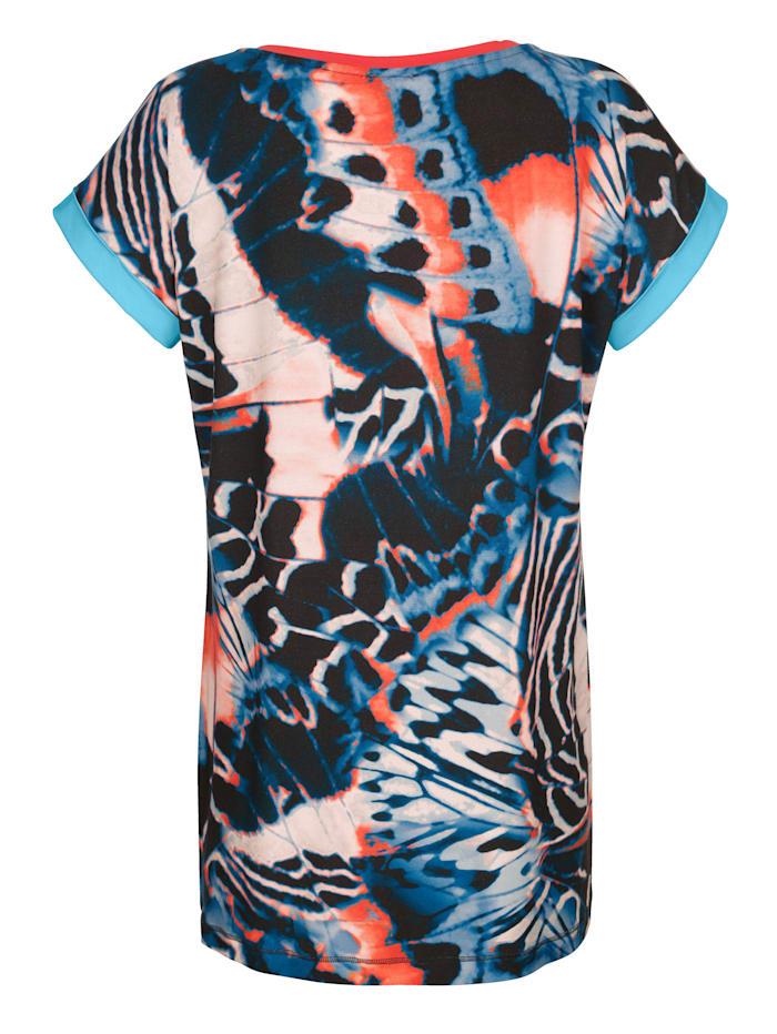 Strandshirt met gekleurde biezen