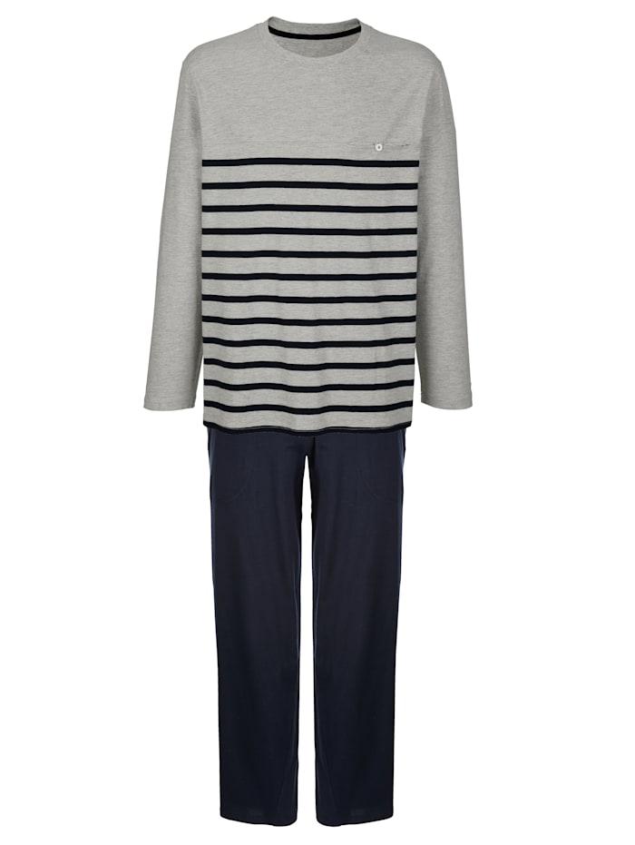 BABISTA Schlafanzug, Grau/Marineblau