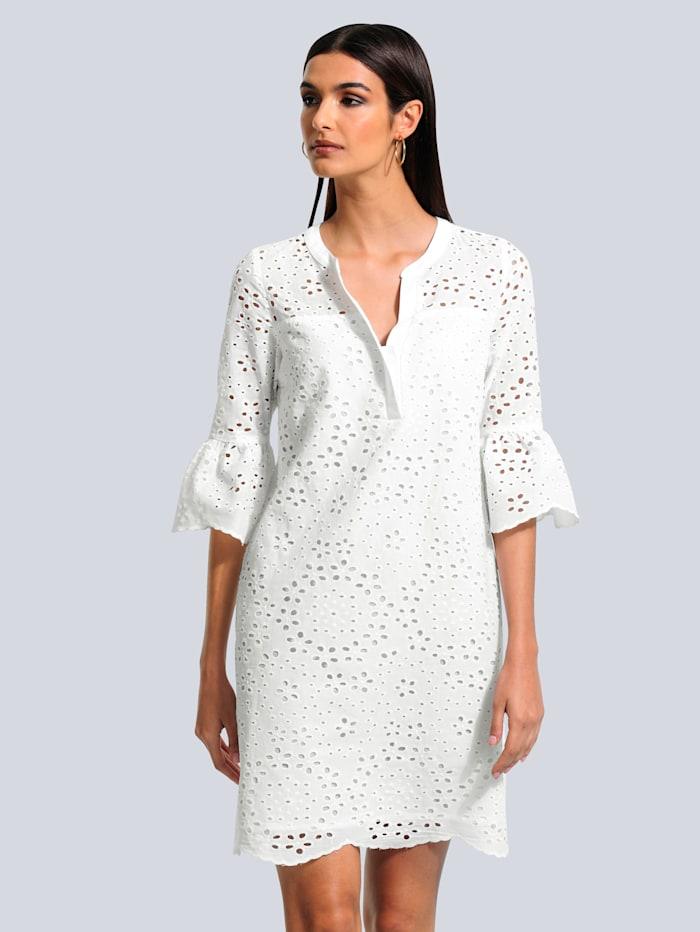 Alba Moda Kleid allover mit filigraner Lochstickerei, Off-white