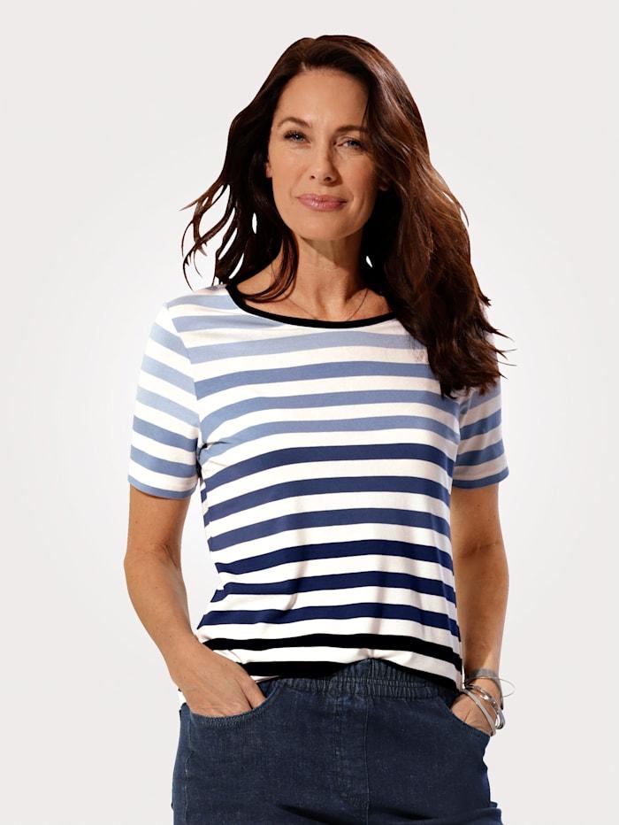 MONA Shirt im zeitlosen Ringeldessin, Weiß/Blau/Marineblau
