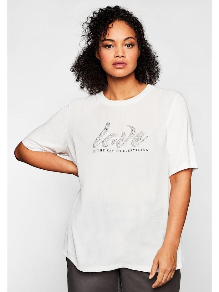 Sheego Sheego T-Shirt mit Glitzersteinen, weiß