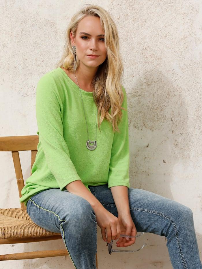 MIAMODA T-shirt dans une belle matière structurée, Citron vert