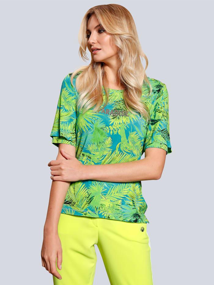 SPORTALM T-Shirt im Palmendruck, Limettengrün