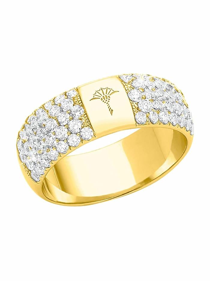 JOOP! Ring für Damen, Sterling Silber 925 vergoldet, Zirkonia, Gold