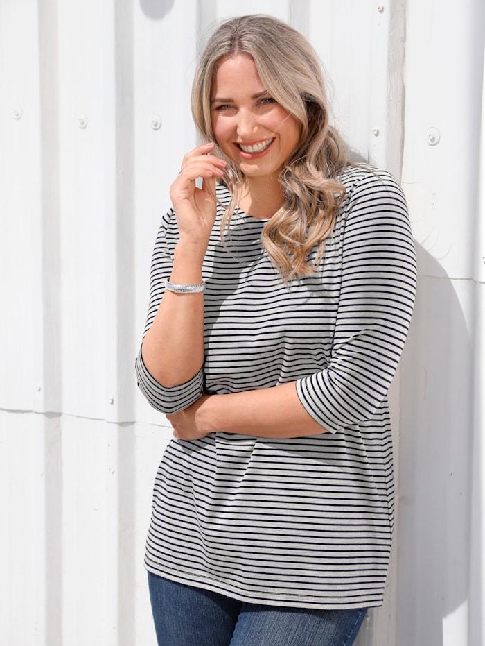 MIAMODA Shirt mit Streifendruck, Marineblau/Grau
