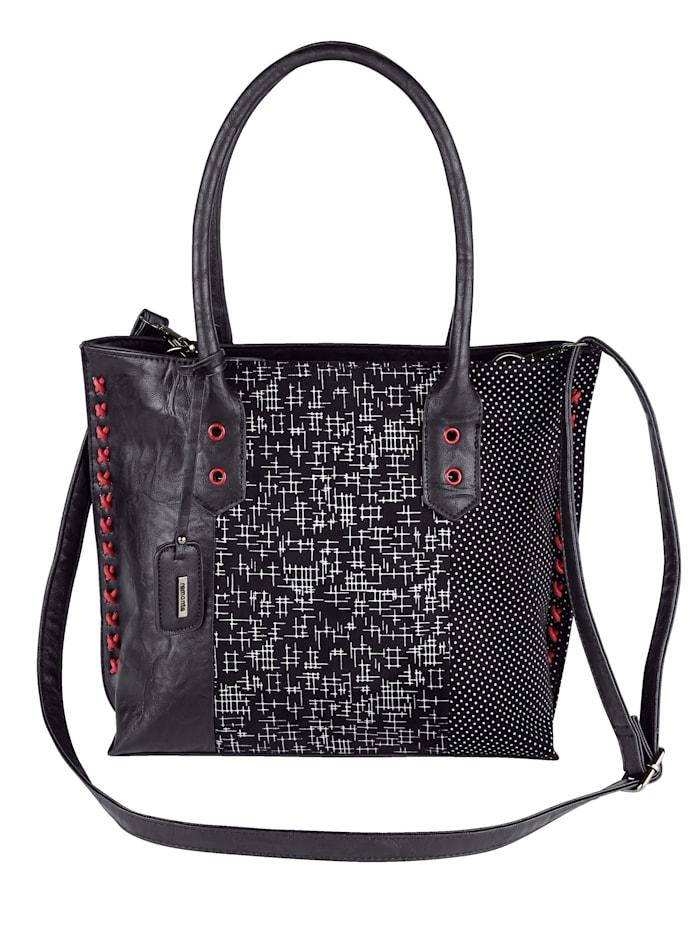 Remonte Shopper met rode studs en sierstiksels 3-delig, zwart gecombineerd
