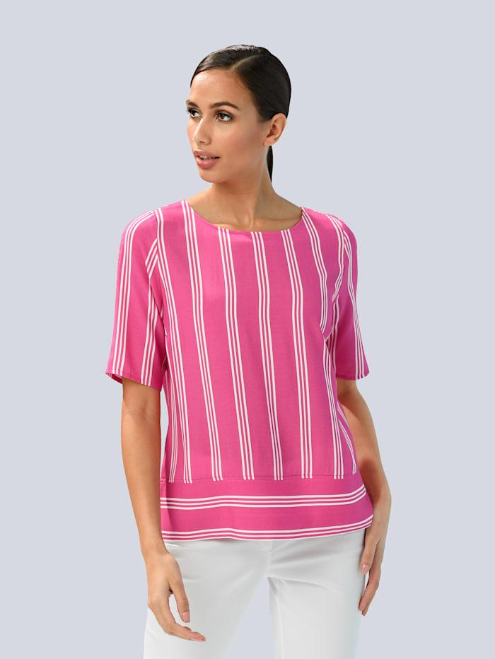 Alba Moda Bluse im Streifendessin, Pink/Weiß