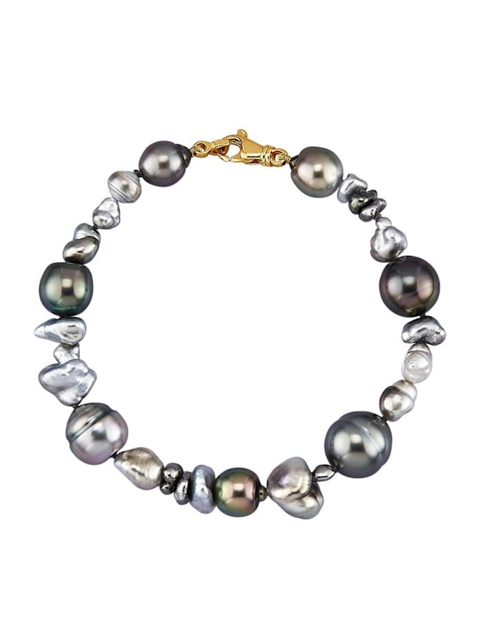 Diemer Perle Perlen-Armband aus Tahiti-Zuchtperlen und Keshiperlen, Grau