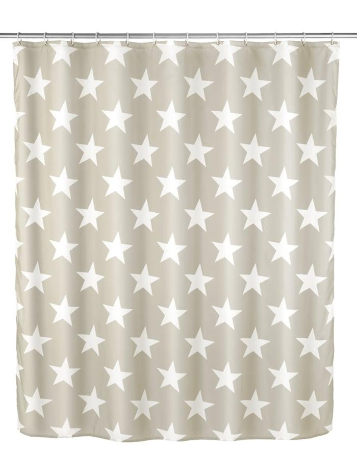 Wenko Anti-Schimmel Duschvorhang Stella Taupe, Textil (Polyester), 180 x 200 cm, waschbar, Taupe