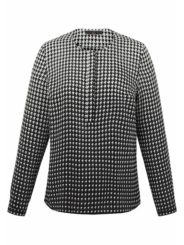 Emilia Lay Bluse aus 100% Seide, schwarz/weiß