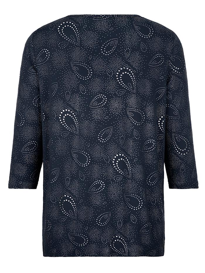 Shirt met gestructureerde glitterprint rondom