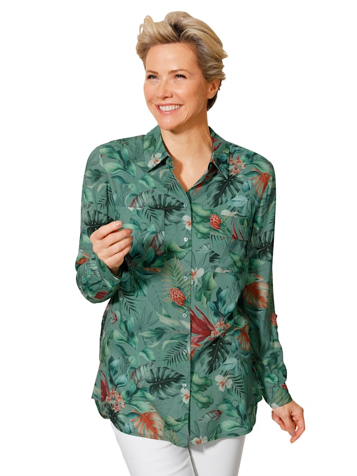 MONA Blouse met exotische bladerenprint, Jadegroen/Koraal/Multicolor