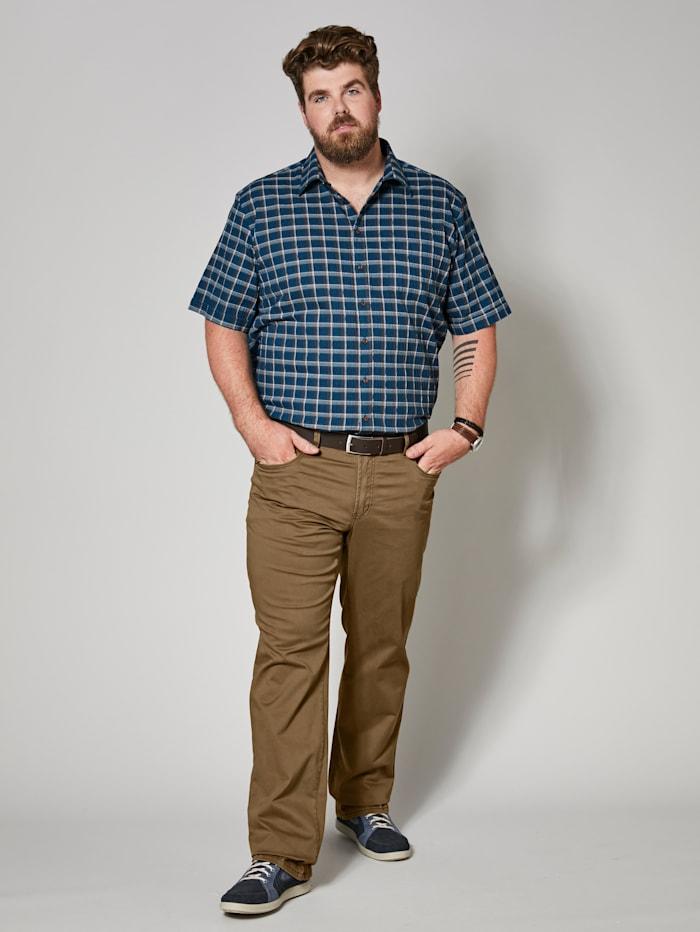 Men Plus Spezialschnitt Seersuckerhemd, Petrol/Braun