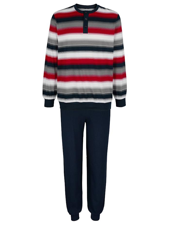 Schlafanzug mit garngefärbten Streifen, Marineblau/Rot/Grau
