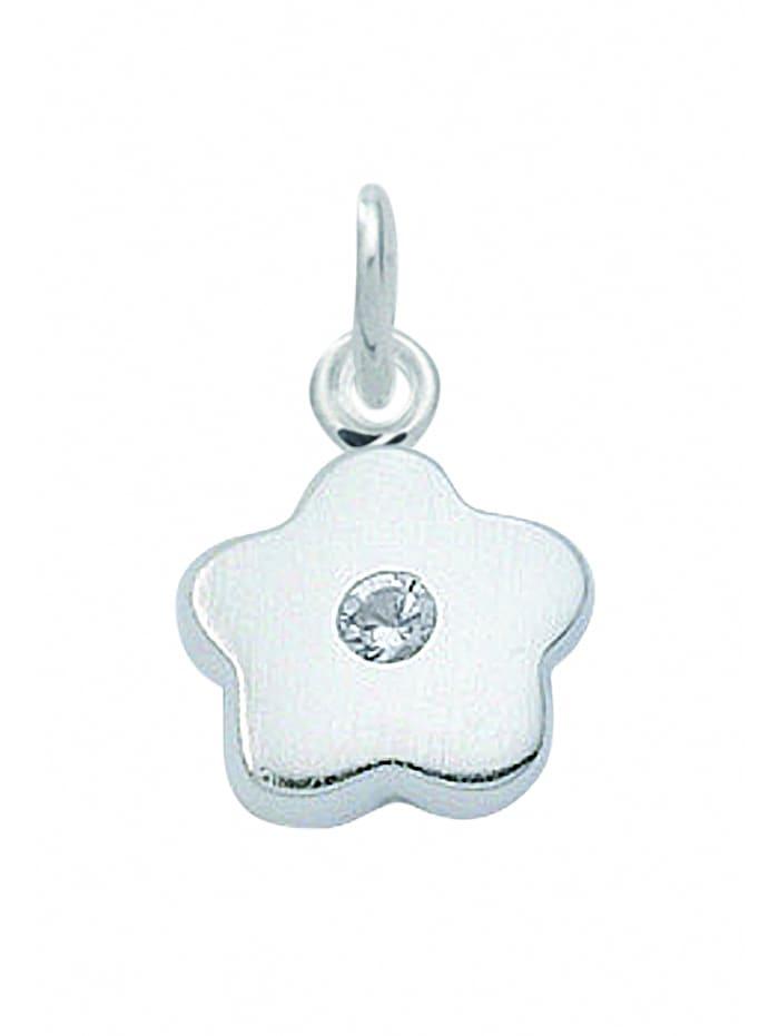 1001 Diamonds Damen Silberschmuck 925 Silber Anhänger Blüte mit Zirkonia Ø 8,3 mm, silber