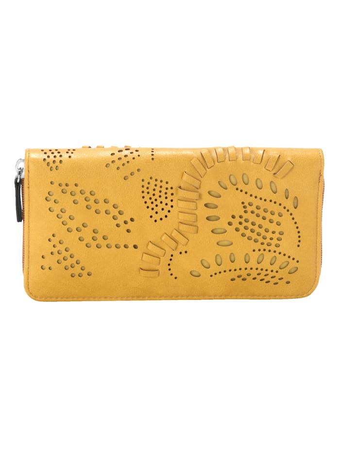 Taschenherz Geldbörse mit floraler Perforation, Senfgelb