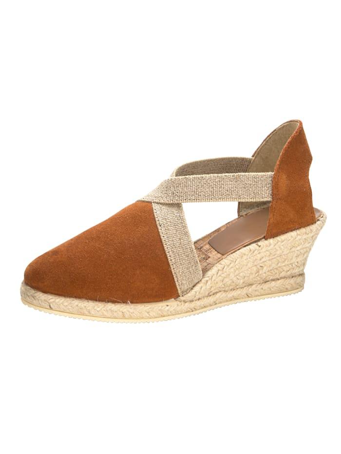 Sandaaltje met elastische riempjes, Cognac