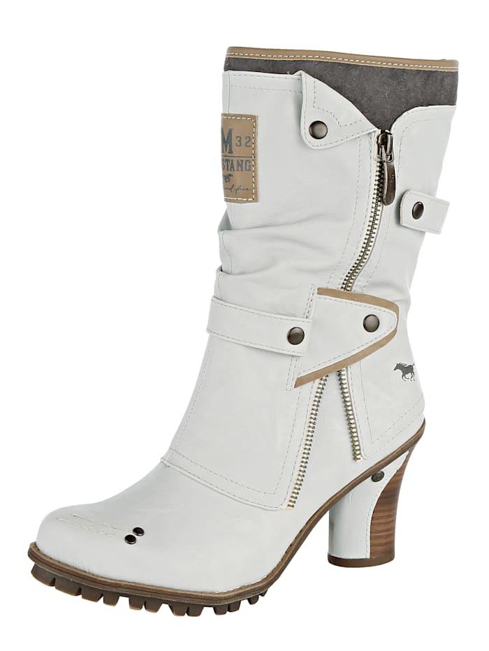 Mustang Stiefel im extravaganten Look, Weiß