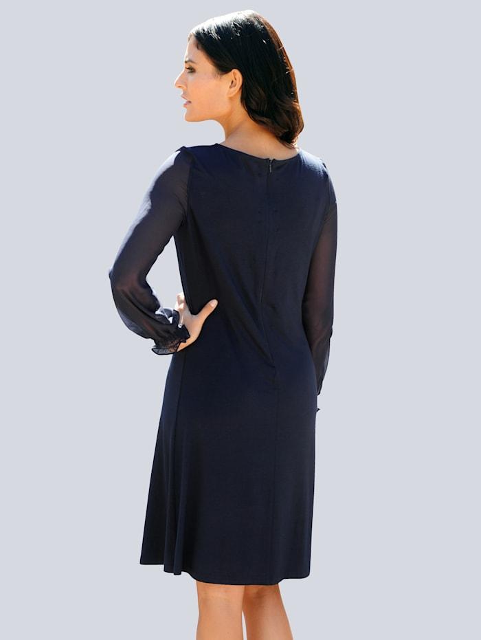 Džersej šaty s rukávmi z transparentného šifónu